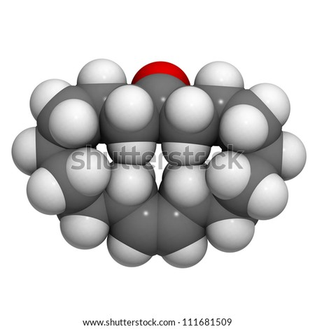 Civetone civet scent molecule, chemical structure. Civetone is the musky perfume ingredient from the African Civet.