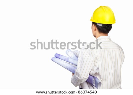 Civil engineer body part with paperwork, isolated on white background - stock photo