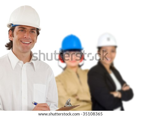Civil engineer smiling with a group behind him isolated - stock photo