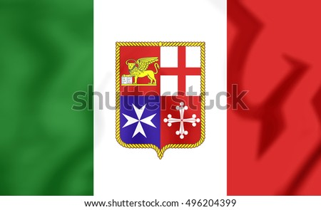 Civil Ensign of Italy. 3D Illustration.