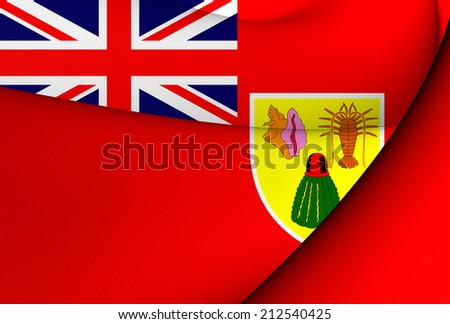 Civil Ensign of Turks and Caicos Islands. Close Up. - stock photo