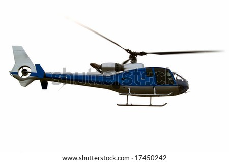 Civil helicopter hovering ready to climb and cruise - stock photo