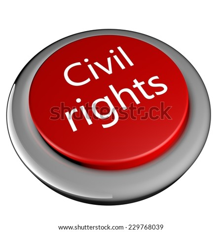 Civil rights button, isolated over white, 3d render - stock photo