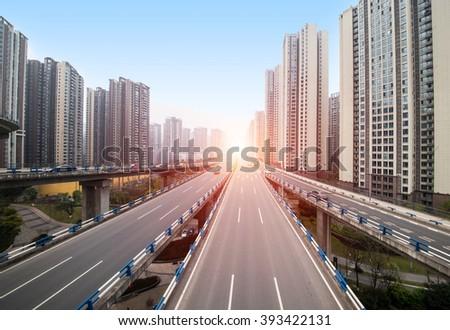 civil traffic in city - stock photo