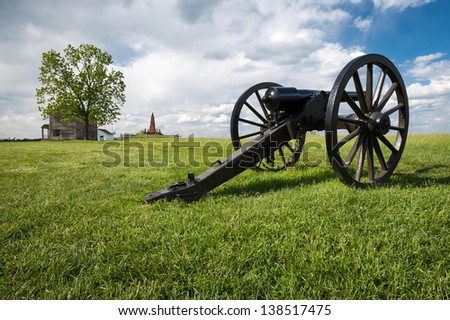 Civil War Cannon Manassas National Battlefield Park Virginia - stock photo