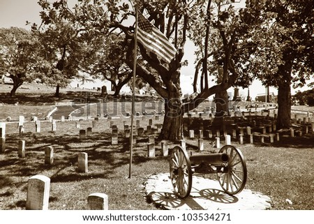 Civil War military cemetery or graveyard. Sepia toned for a vintage look and feel - stock photo