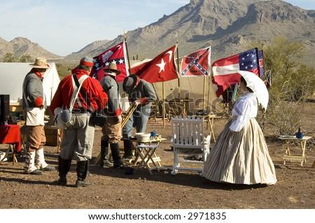 civil war reenactment at Picacho Peak State Park, Arizona,March 2007 - stock photo