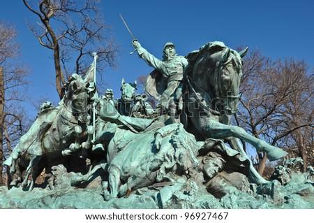 Civil War Statue in Washington DC - stock photo