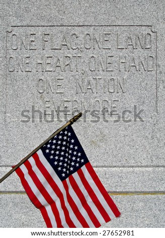 civil war veterans cemetery grave headstone: one flag, one land, one heart, one hand, one nation evermore - stock photo