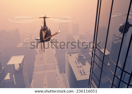 Civilian helicopter over the city. - stock photo