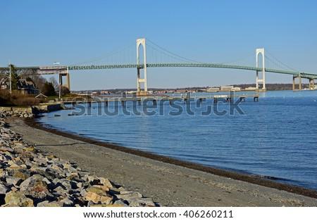 claiborne pell newport  bridge to newport from conanicut island, rhode island - stock photo