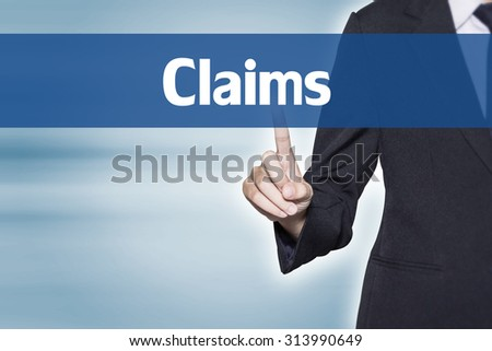 Claims Business woman pointing at word for business background concept - stock photo