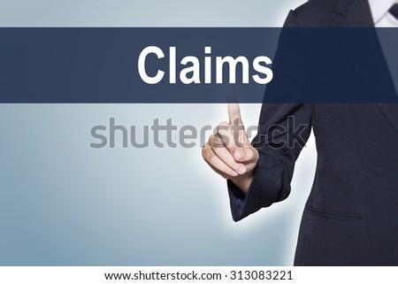 Claims Business woman pushing hand on virtual screen for e-commerce background - stock photo