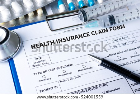 CLAIMS Health insurance form ,  claims document of the customer to the insurance ,  - Business Concept