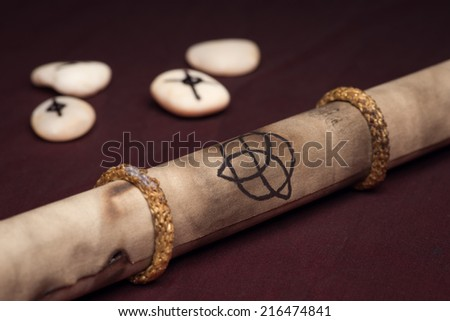 Clairvoyance equipment with parchment on dark desk - stock photo