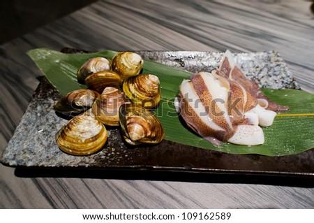 clam and squid - stock photo