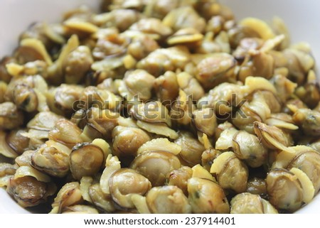 Clam meat close up. - stock photo