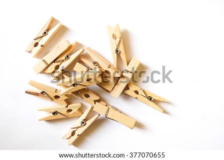 Clamp wood pile together on white background  - stock photo