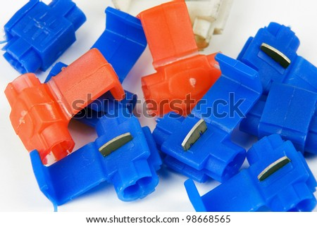 clamps for mounting electrical wires in a car - stock photo