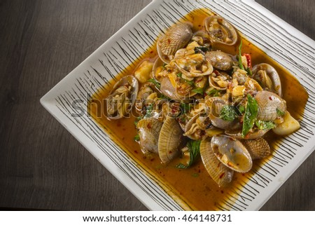 Clams fried chili sauce . Thai food