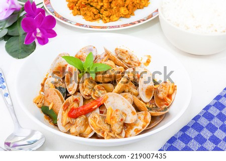 SURF CLAM, STIR FRIED CLAMS WITH ROASTED CHILI PASTE AND THAI BASIL ...