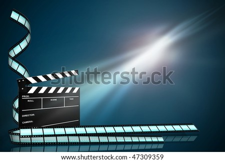 clap board and three film strips on abstract dark background - stock photo