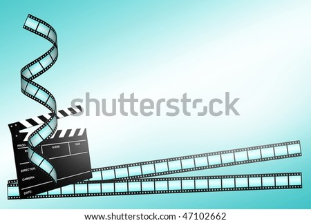 clap board and three film strips on blue background - stock photo