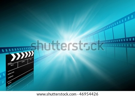 clap board and two film strips on blue background - stock photo