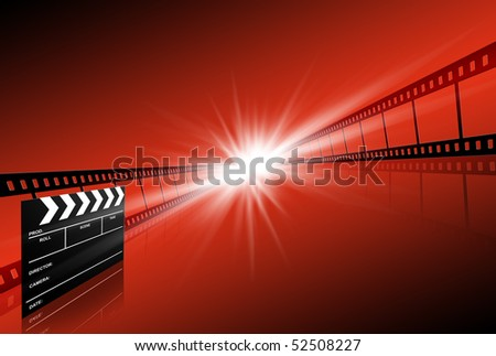 clap board and two film strips on red background - stock photo