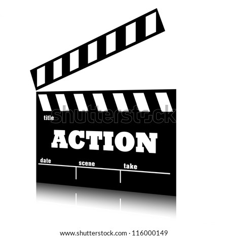 Clap film of cinema action genre, clapperboard text illustration. - stock photo