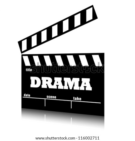 Clap film of cinema drama genre, clapperboard text illustration. - stock photo
