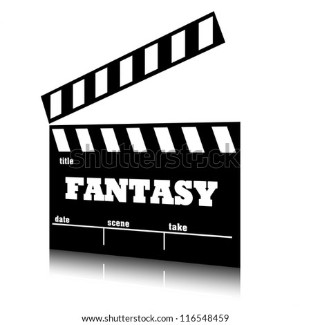 Clap film of cinema fantasy genre, clapperboard text illustration. - stock photo