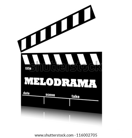 Clap film of cinema melodrama genre, clapperboard text illustration. - stock photo