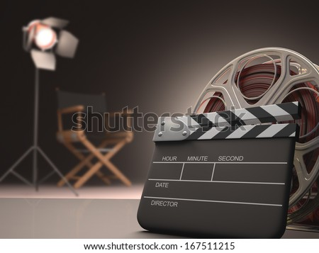 Clapboard concept of cinema.
