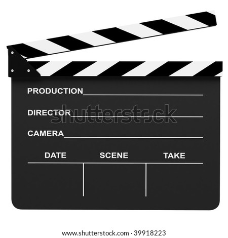 Clapboard on white background
