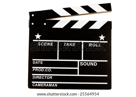clapper board isolated on white