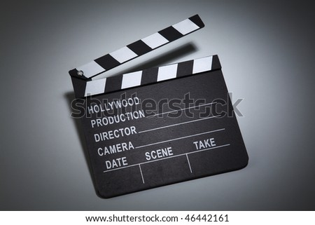 clapper board on the plain background