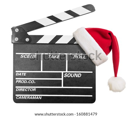 Clapper board with Santa's hat isolate - stock photo