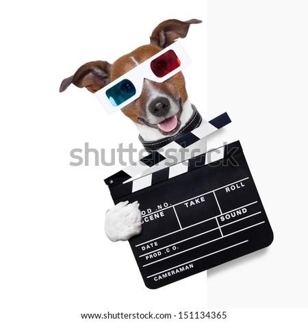 clapper cinema dog behind white banner - stock photo