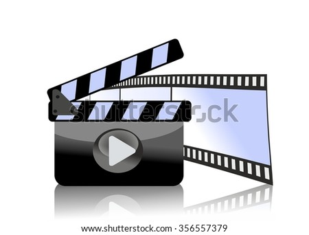 clapperboard and film strip - stock photo