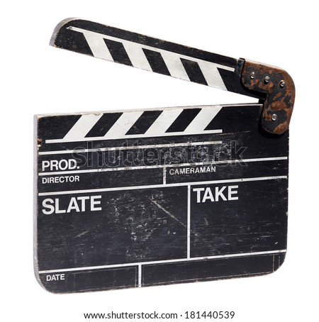 Clapperboard slate used in cinematography to record the start, number and time of a new take with the clapper in the open position isolated on white