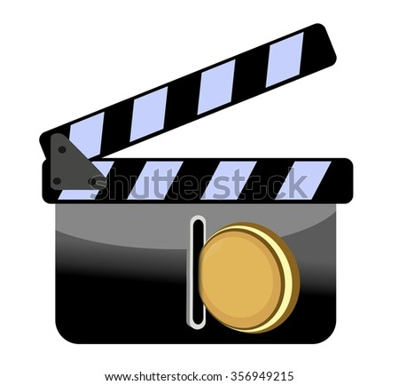 clapperboard with coin - financing filmography - stock photo