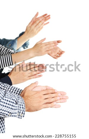 Clapping hands isolated on white  - stock photo