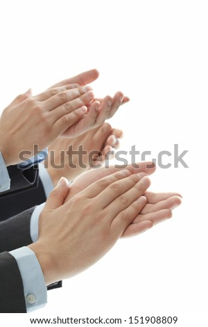 clapping hands on isolated white background