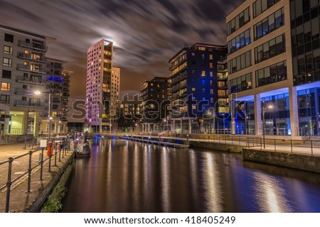 Clarence Dock in Leeds, now known as Leeds Dock in moonlight