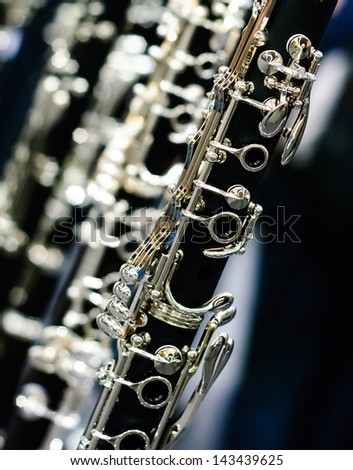 clarinet detail angular view - stock photo