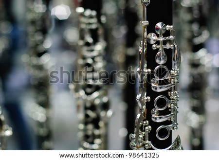clarinet detail black and silver - stock photo