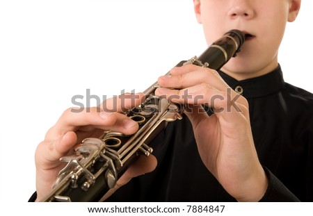 Clarinet player. It is isolated on a white background. - stock photo