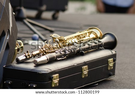 Clarinets ready for jazz - stock photo