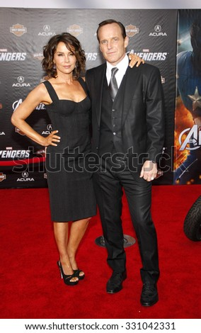 "Clark Gregg and Jennifer Grey at the Los Angeles premiere of ""The Avengers"" held at the El Capitan Theater in Hollywood, USA on April 11, 2012."
